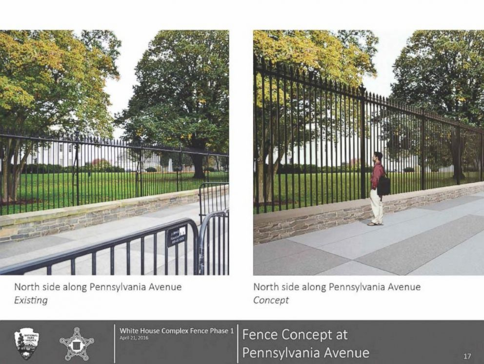 PHOTO: Comparison Of Current And Proposed White House Fence From Lafayette  Park.