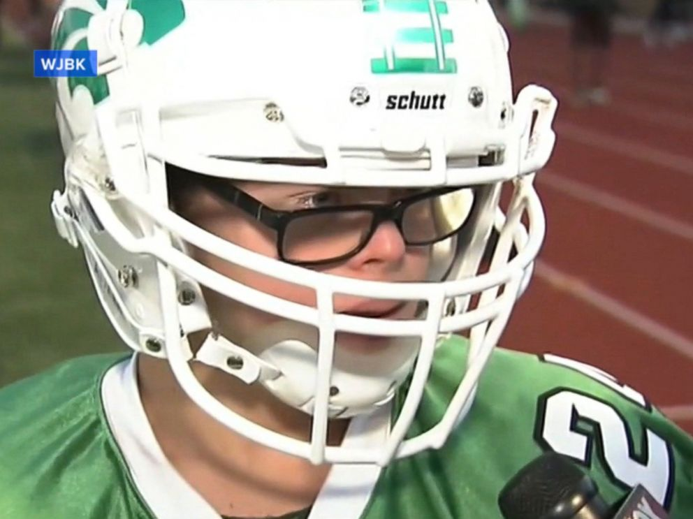 PHOTO: Robby Heil, a student at Novi High School with down syndrome, scored a touchdown for the schools football team on Sept. 16, 2016.