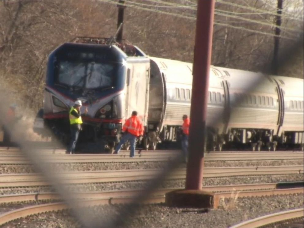 PHOTO: An Amtrak train derailed in Chester, Pa., April 3, 2016.