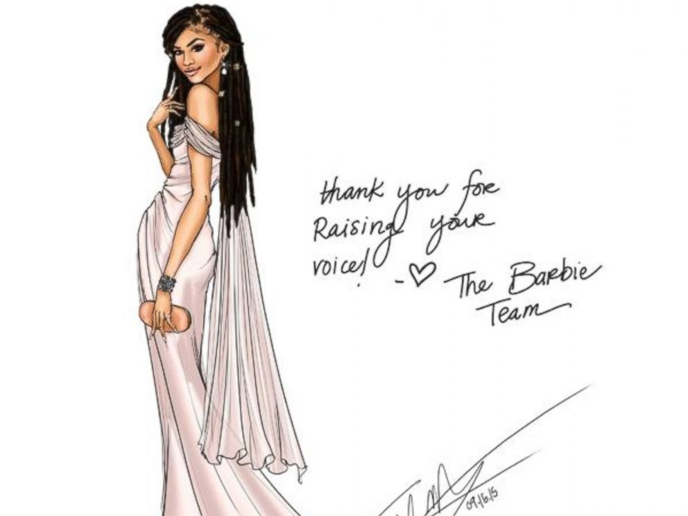 PHOTO: Barbies official twitter page tweeted this sketch with the caption, So excited to honor @Zendaya with a one-of-a-kind doll as she encourages girls to Raise Their Voices and to #BeSuper!, Sept. 18, 2015.