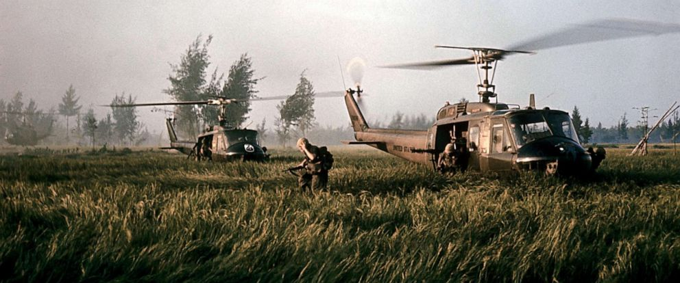 PHOTO: Helicopters that brought Company C soldiers to My Lai in March 1968.