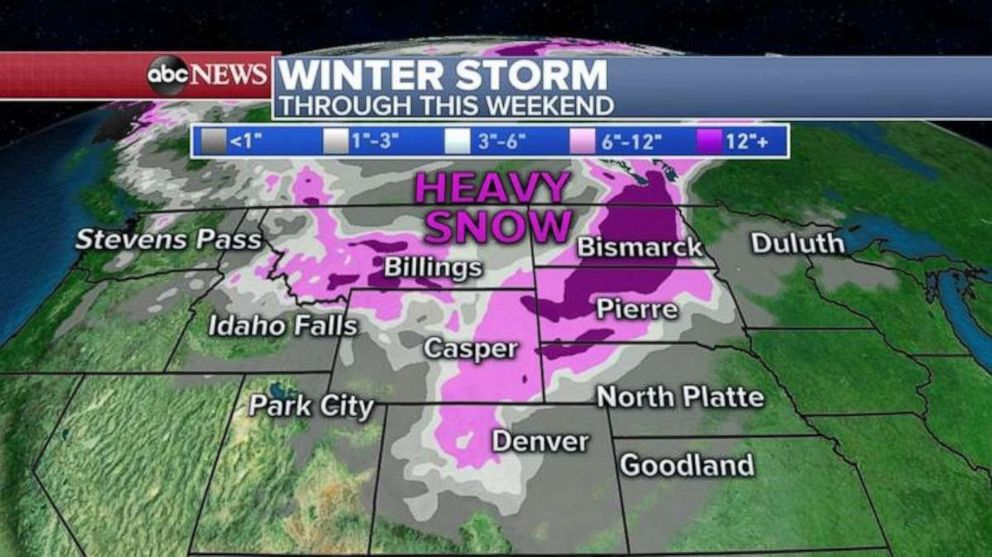 PHOTO: Snow accumulations could be more than a foot from the Rockies all the way to the Dakotas through this weekend.