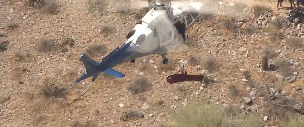 PHOTO: A helicopter made a dizzy rescue for a woman who sustained injuries while hiking in Arizona.