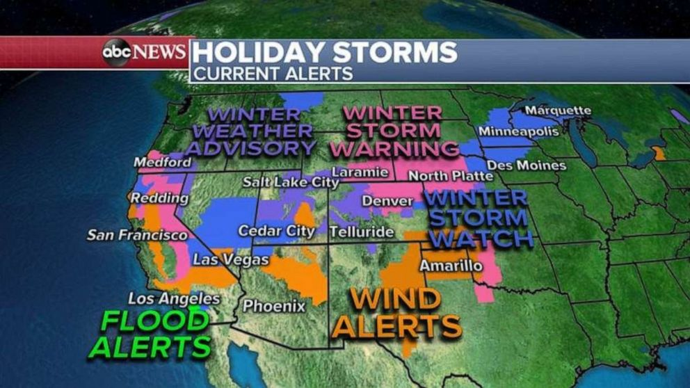 PHOTO: Over 35 million people are under a weather alert this morning from California to Michigan.