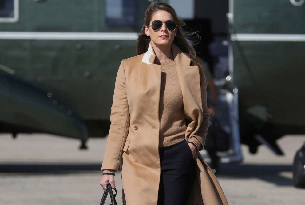 PHOTO: Hope Hicks, an advisor to U.S. President Donald Trump walks to Air Force One to depart Washington with the president and other staff on campaign travel to Minnesota from Joint Base Andrews, Maryland, U.S., September 30, 2020.