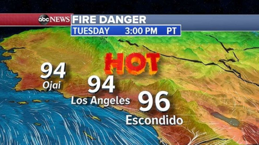PHOTO: Today, the big story will be the heat in southern California with highs in the mid 90's in L.A. and near 90 in San Diego.