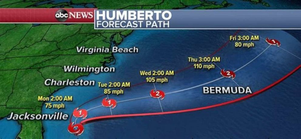 PHOTO: Tropical Storm Humberto should develop into a hurricane but is not expected to make landfall anywhere.