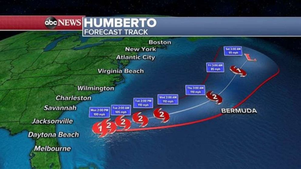 PHOTO: Hurricane Humbertos path is veering away from the Atlantic coast and moving back out to sea.