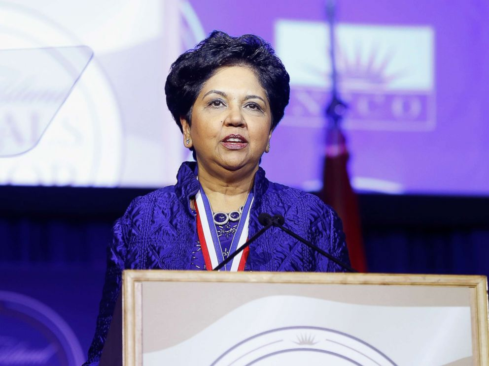 PHOTO: Chairman and CEO of PepsiCo, Indra Nooyi attends 2017 Ellis Island Medals of Honor Ceremony at Ellis Island on May 13, 2017 in New York.