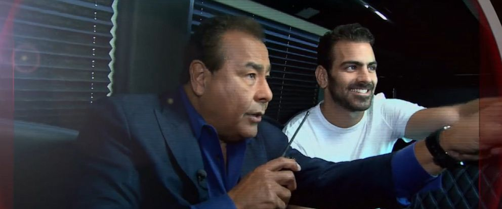 PHOTO: Host John Quinones and special guest Nyle DiMarco watch from behind the scenes.
