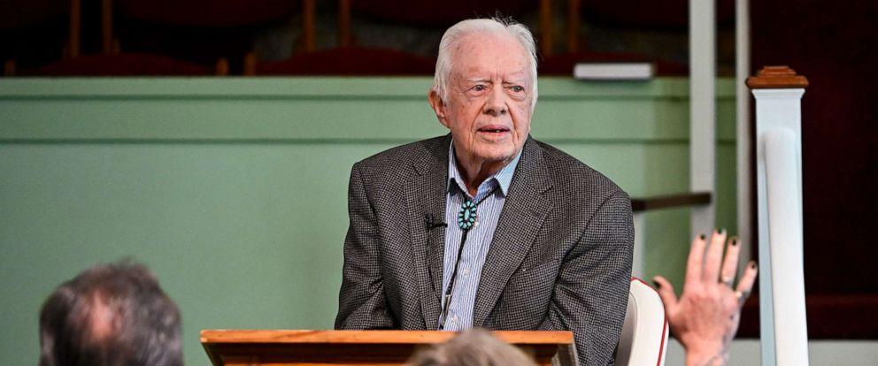 PHOTO: Former President Jimmy Carter teaches Sunday school at Maranatha Baptist Church, Nov. 3, 2019, in Plains, Ga.