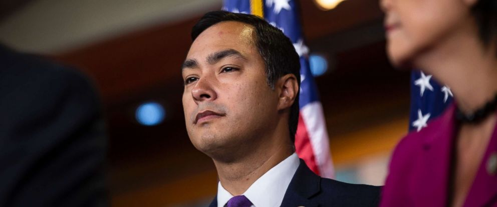 PHOTO: Rep. Joaquin Castro (D-TX) listens during a news conference with Democratic lawmakers on Capitol Hill, July 25, 2018, in Washington, D.C.