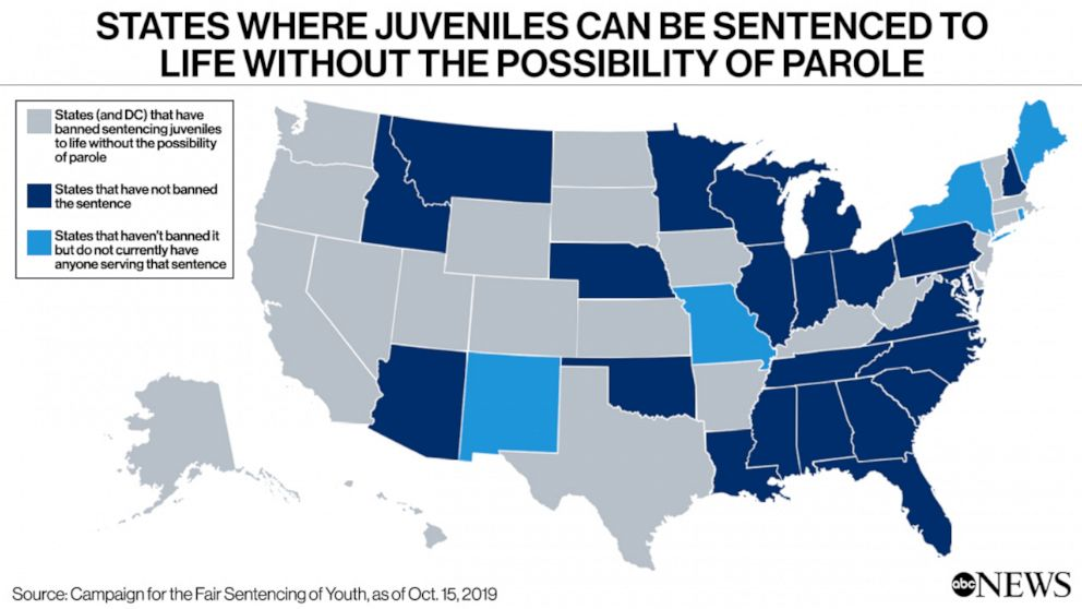 PHOTO: States where juveniles can be sentenced to life without the possibility of parole