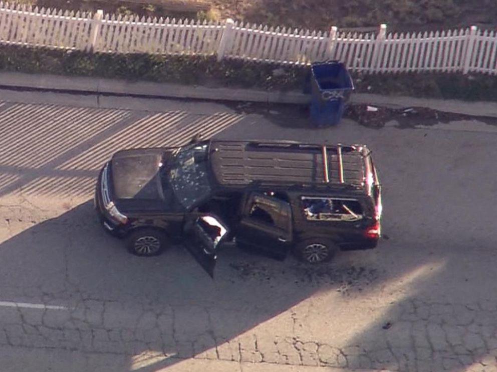 PHOTO: An SUV with bullet holes in San Bernardino, Calif., Dec. 2, 2015.