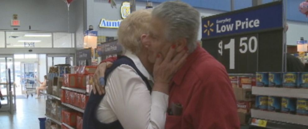 PHOTO: A 75-year-old man proposed to his ex-wife at the Walmart where she works.