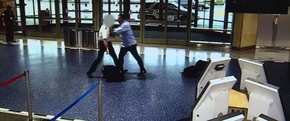 PHOTO: The pilot, left, who was traveling as a passenger, and passenger got into an altercation after disembarking their flight at Kansas City International Airport.