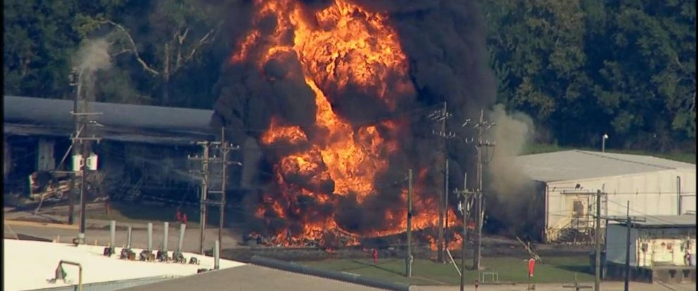 PHOTO: A fire burns at the Arkema chemical plant in Crosby, Texas, Sept. 1, 2017.