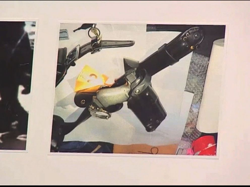 PHOTO: LAPD chief Charlie Beck showed pictures of the officers weapon which he says shows that force was used on the weapon during the alleged fight between the officer and the man.