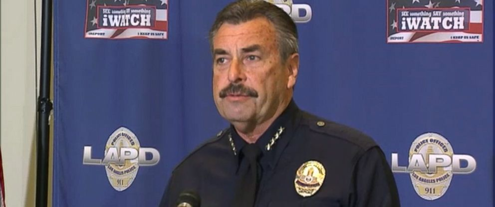 PHOTO: Los Angeles police chief Charlie Beck holds a press conference on the recent shooting of a homeless man in the Skid Row section of Los Angeles, March 2, 2015.