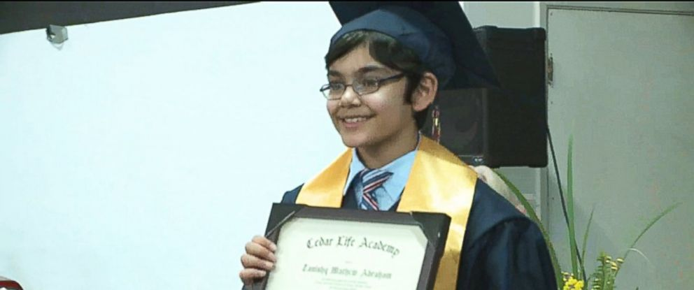PHOTO: 10-year-old Tanishq Abraham graduated from high school with a 4.0 grade point average, he says he would like to become a doctor.