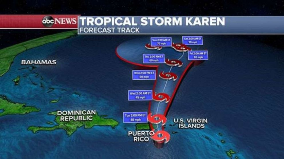 PHOTO: After Tropical Storm Karen crosses Puerto Rico, it will head north into the Atlantic Ocean where it could strengthen slightly.