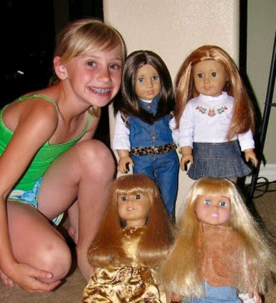 PHOTO: Karli King poses with her American Girl Dolls in this undated photo.