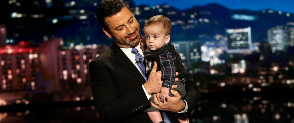 "PHOTO: Jimmy Kimmel with his son Billy on ""Jimmy Kimmel Live!"", Dec. 11, 2017. Kimmel kept up his advocacy, urging Congress to restore the Childrens Health Insurance Program, which has been left unfunded and stuck in a political stalemate since Sept."