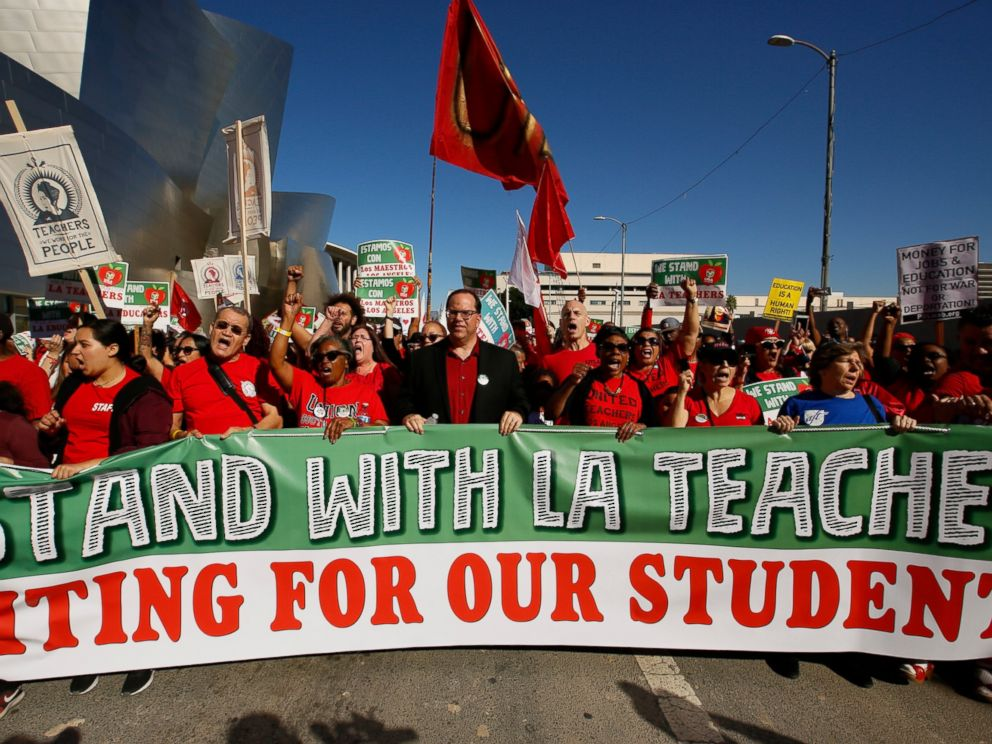 30,000 LA teachers go on strike over wages, class size