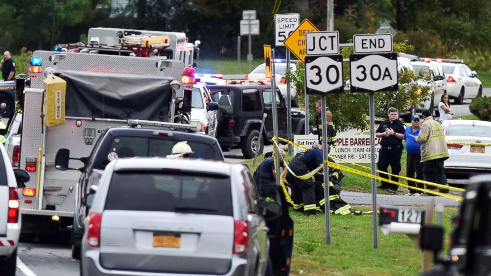 The scene of a deadly limousine crash in Schoharie, N.Y., Oct. 6, 2018.