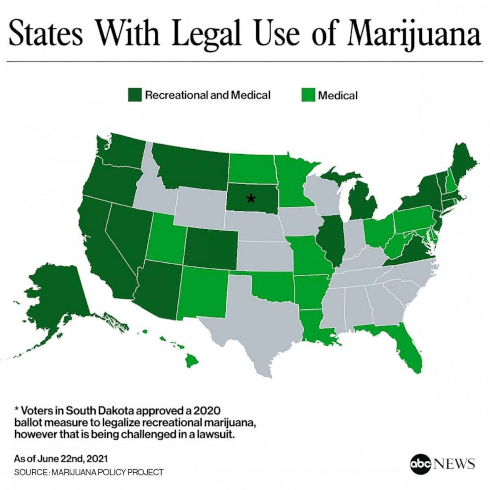 PHOTO: States With Legal Use of Marijuana