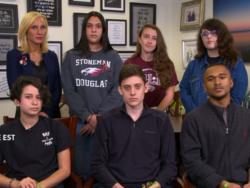 PHOTO: Marjory Stoneman Douglas High School students appear on The View via satellite from Tallahassee, Fla., on Feb. 21, 2018.