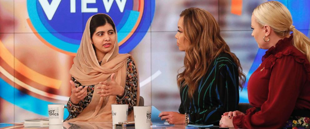 "PHOTO: The youngest Nobel Prize laureate Malala Yousafzai told ""The View"" ""we have a lot to learn from these young girls"" who have been displaced around the world and are seeking a better life."