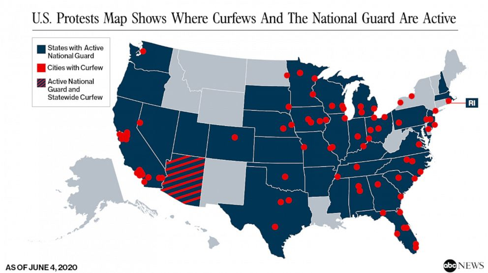 Us Protests Map Shows Where Curfews And National Guard Are Active Abc News