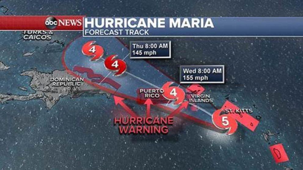 Hurricane Maria forecast track as of Sept. 19, 2017.