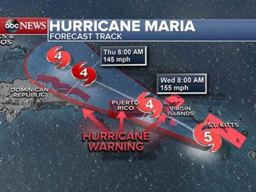 PHOTO: Hurricane Maria forecast track as of Sept. 19, 2017.