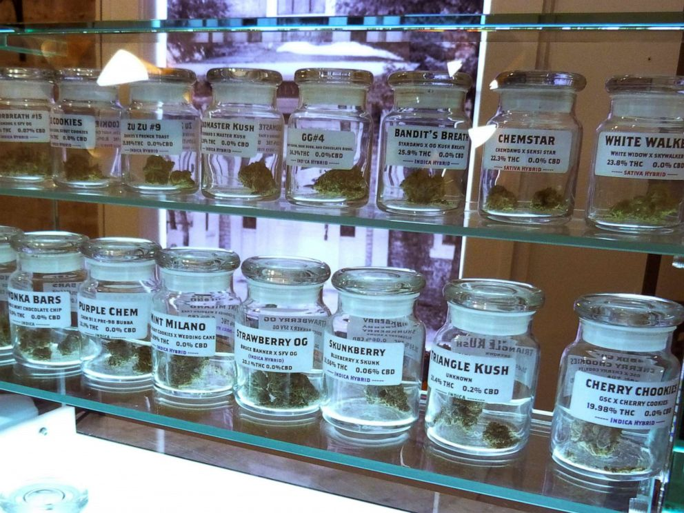 PHOTO: Marijuana on display at Arbors Wellness in the medical marijuana shop in Ann Arbor, Mich., Nov. 25, 2019. Adults age 21 and over will be able to buy marijuana for recreational use starting Sunday, Dec. 1 in Michigan.