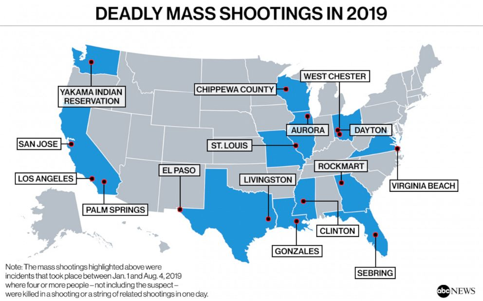 There have been at least 17 deadly mass shootings in the US so far