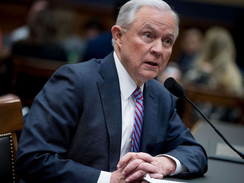 PHOTO: US Attorney General Jeff Sessions testifies before a House Judiciary Committee hearing on November 14, 2017, in Washington, DC.