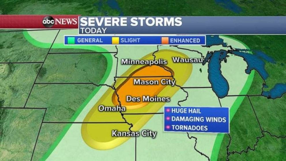 PHOTO: The biggest threat for tornadoes will be from Des Moines, Iowa to Rochester, Minnesota.