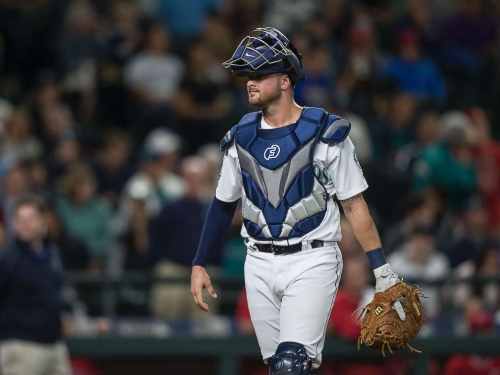 PHOTO: Catcher Mike Marjama of the Seattle Mariners walks to home plate during a game against the Los Angeles Angels of Anaheim at Safeco Field on Sept. 9, 2017 in Seattle.