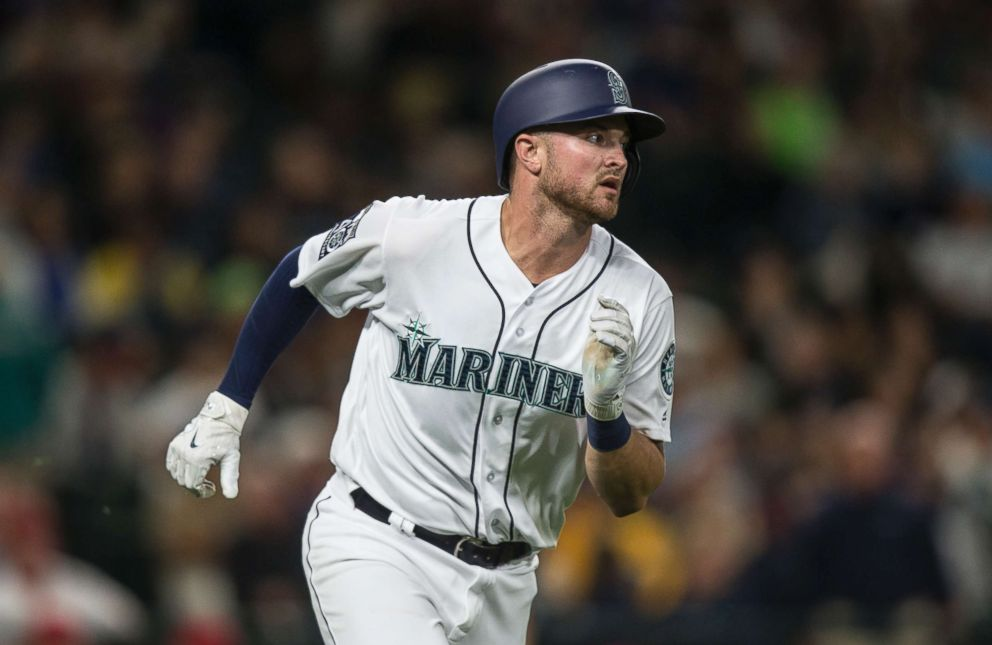 PHOTO: Mike Marjama of the Seattle Mariners runs to first base after putting the ball in play during an at-bat in a game against the Los Angeles Angels of Anaheim at Safeco Field on Sept. 9, 2017 in Seattle.