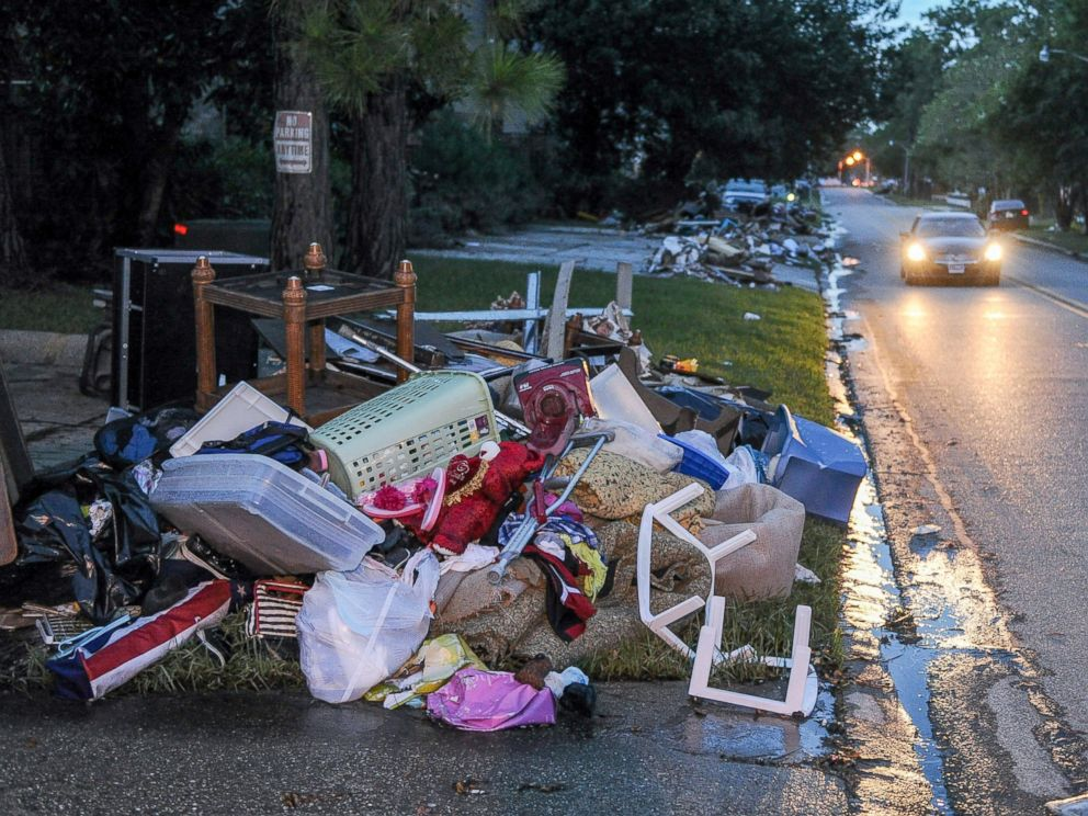 PHOTO: Furniture is seen abandoned on a roadside in Baton Rouge, Aug. 20, 2016.