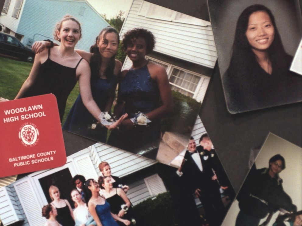 PHOTO:A collage of photographs of Hae Min Lee and her friends were on display at Lees memorial service, March 11, 1999, in Baltimore.