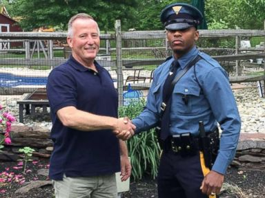 Trooper pulls over cop who delivered him in 1991: 'His mouth dropped -- so did mine'
