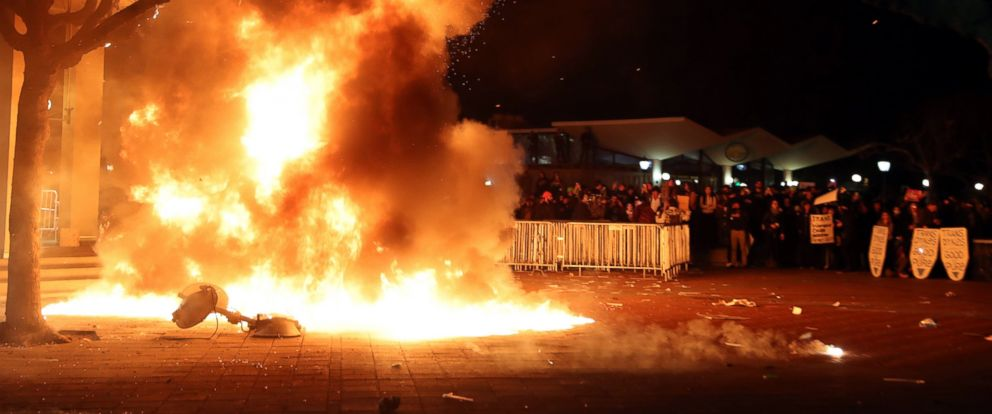 PHOTO: A portable light unit burns after demonstrations forced the cancellation of a talk by 32-year-old right-wing provocateur Milo Yiannopoulos, Feb. 1, 2017, in Berkeley, Calif.