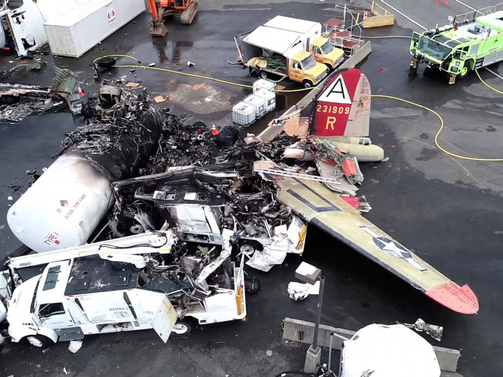 PHOTO: This image taken from video provided by National Transportation Safety Board shows damage from a World War II-era B-17 bomber plane that crashed Wednesday at Bradley International Airport, Thursday, Oct. 3, 2019, in Windsor Locks, Conn.