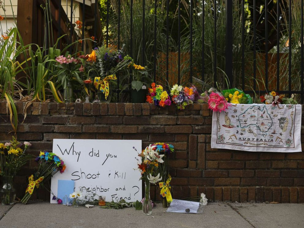PHOTO: A memorial to an Australian woman who was shot and killed late Saturday by police, is seen Sunday evening, July 16, 2017, in Minneapolis.