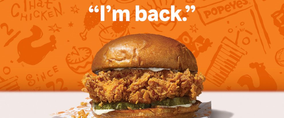 PHOTO: Popeyes announced its popular chicken sandwich will be back on the menu Sunday Nov. 3.