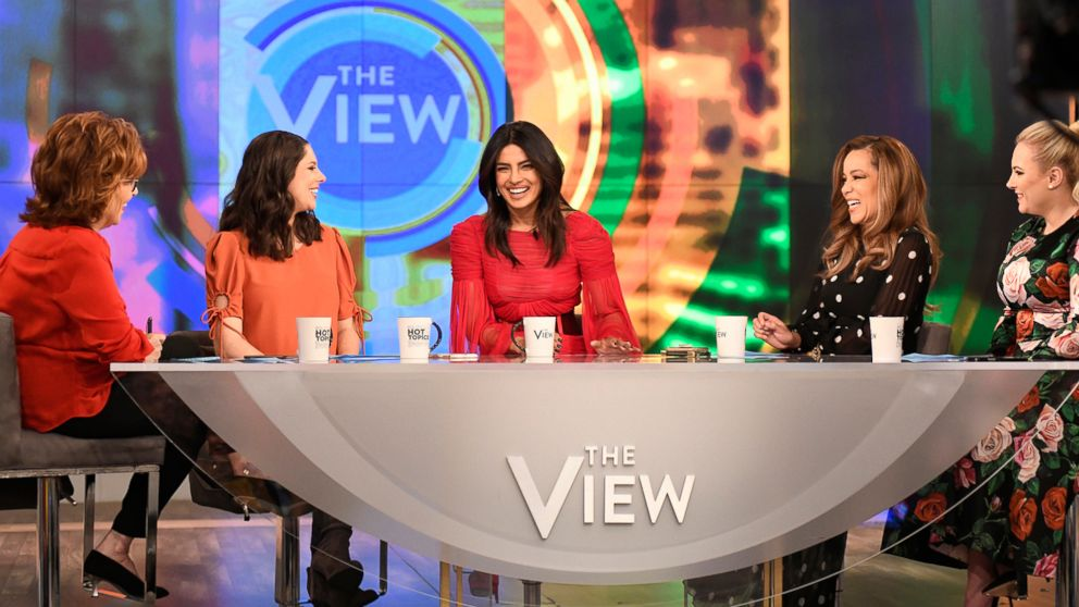 PHOTO: Priyanka Chopra discusses her marriage to Nick Jonas with The View co-hosts Abby Huntsman, Joy Behar, Sunny Hostin, and Meghan McCain, March 19, 2019.
