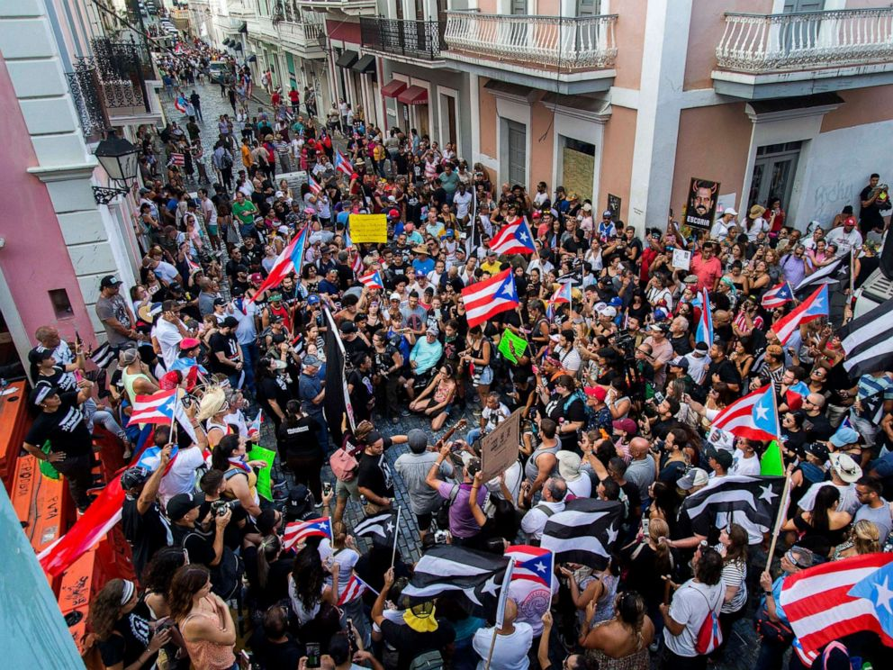PHOTO: Demonstrators protest against Gov. Ricardo Rossello in San Juan, Puerto Rico, July 21, 2019.